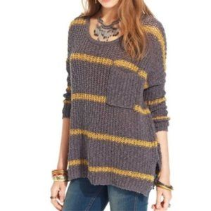 Grey and Yellow Striped Free People Sweater
